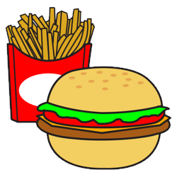 hamburger with fries